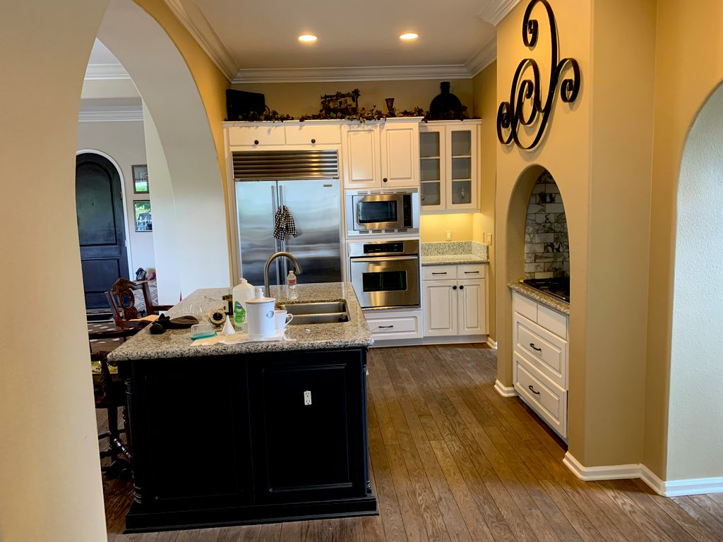 Kitchen Cabinets White lacquer  Grey accent lines done by hand