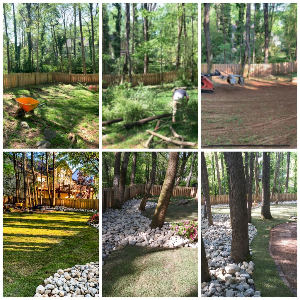 Sod, drainage, river rock, tree clearing, grading
