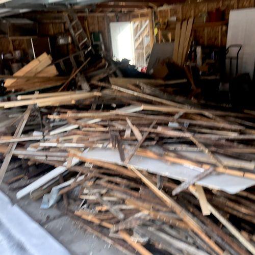 Garage cleanout of construction debris