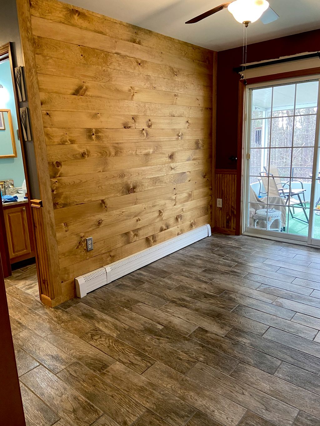 Shiplap, wainscoting and tile