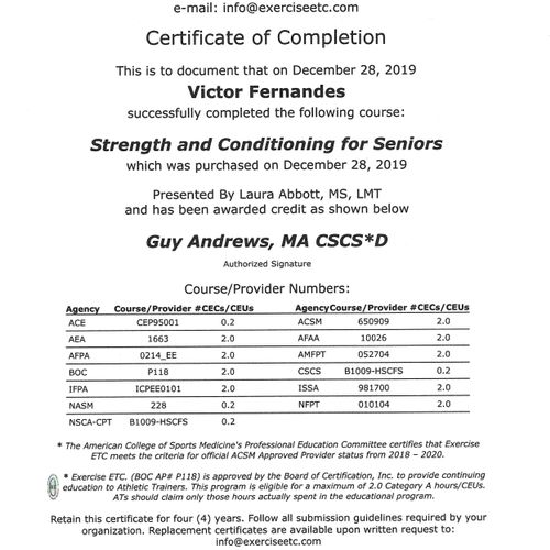 Strength & Conditioning for Seniors Certificate