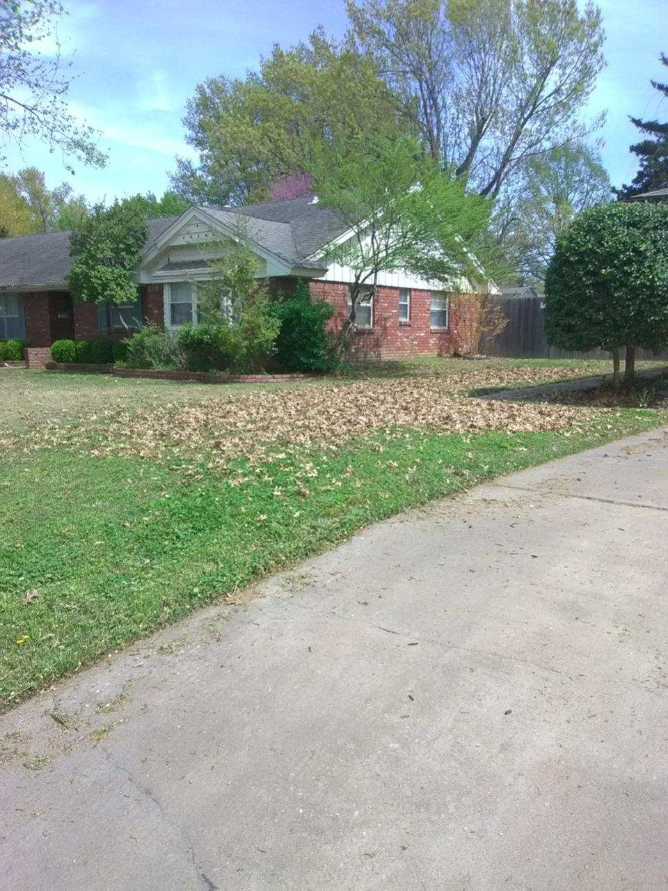 Mowing service with leaf mulching