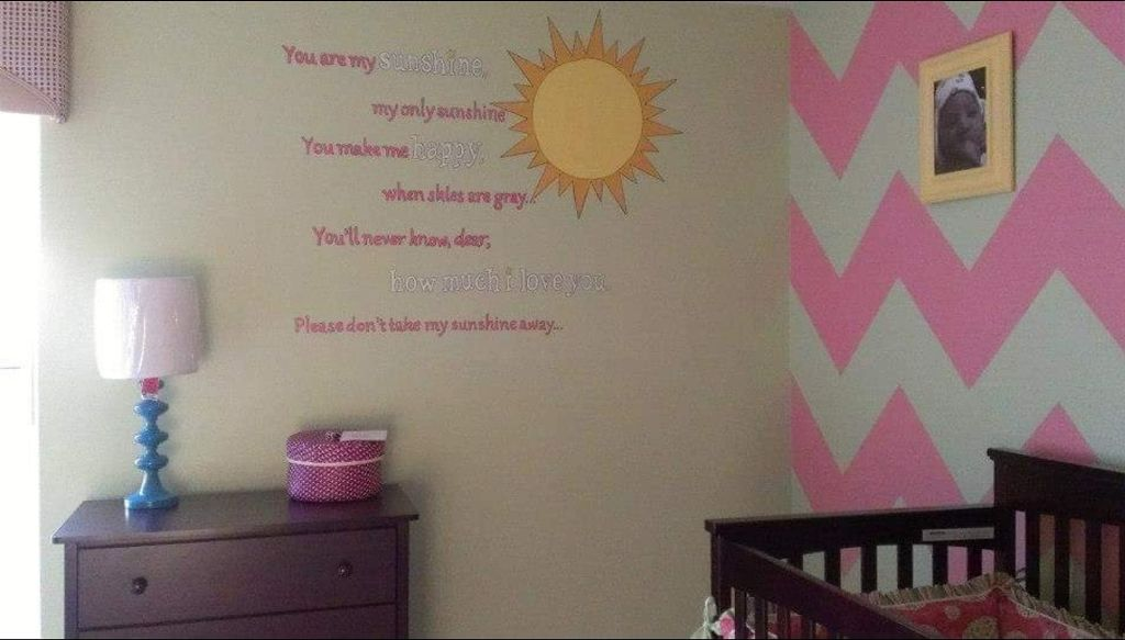 Nursery design with chevron accent wall