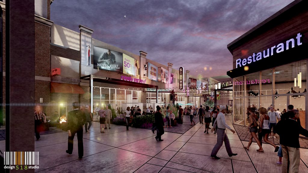 rendering of entertainment district
