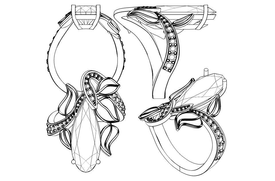 Art Nouveau Gem stone ring