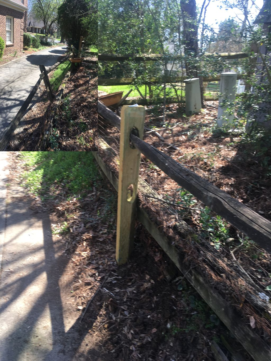 Split Rail Post Replacement Before and After