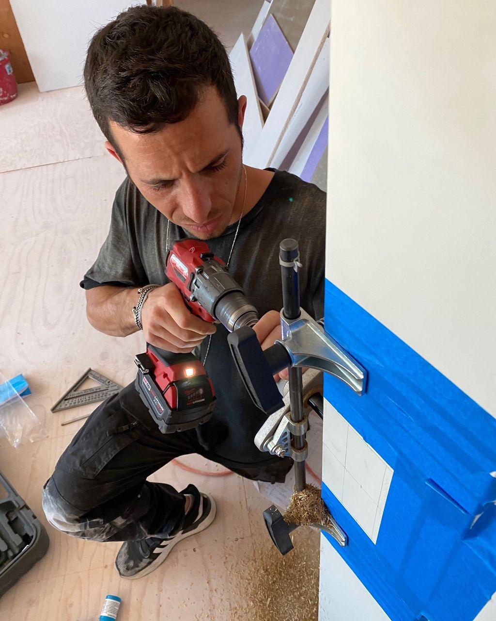 Fresh installation of EMTEK pocket door mortise locks