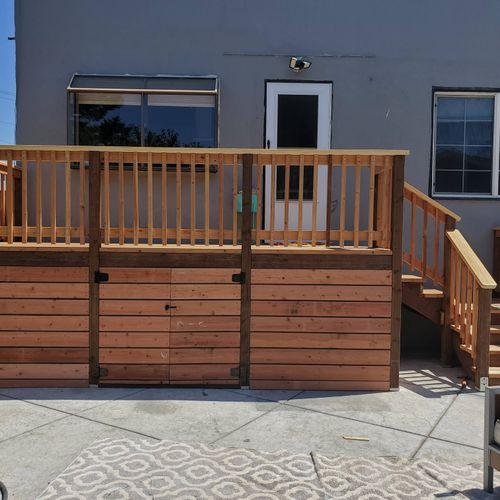 new deck and storage below