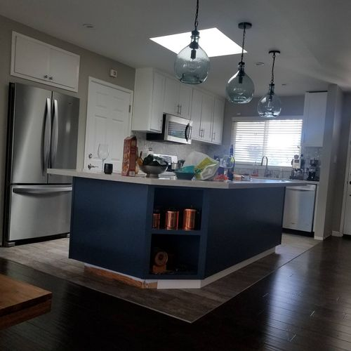 cabinets and wall removal