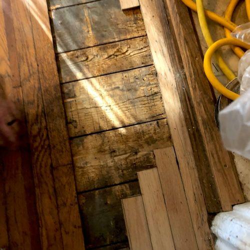 Before. Repairing 100yr old floor