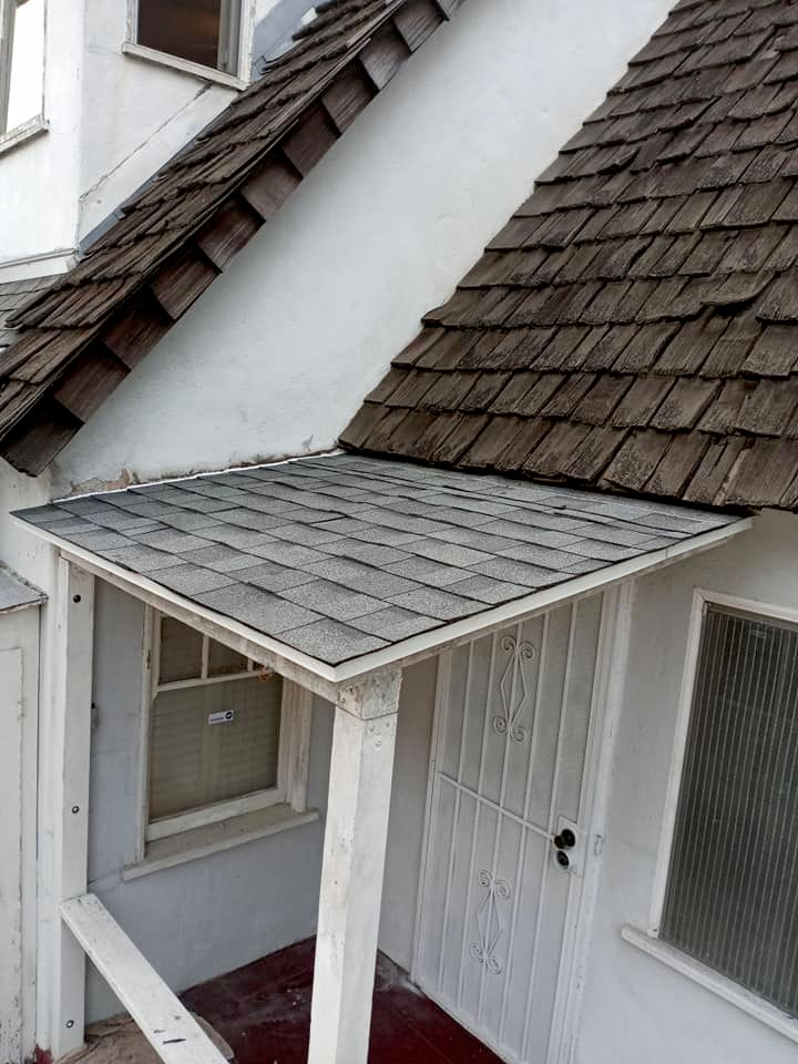 Small Patio Roof Demo and Repair new plywood, lath, shingles
