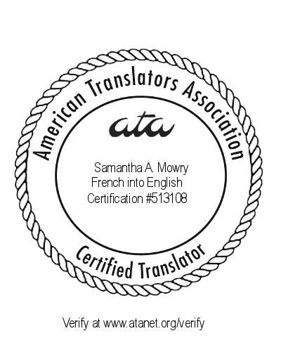 Certification from the American Translators Association for French into English translation