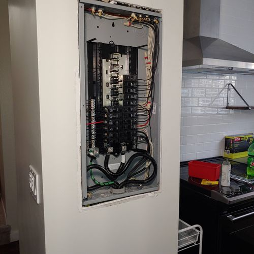 Replacement of an old panel with a new one.