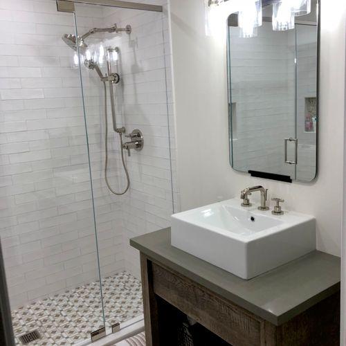 Bathroom Remodel: Walker Zanger Tiles, and Brizo brand shower kit and sink.