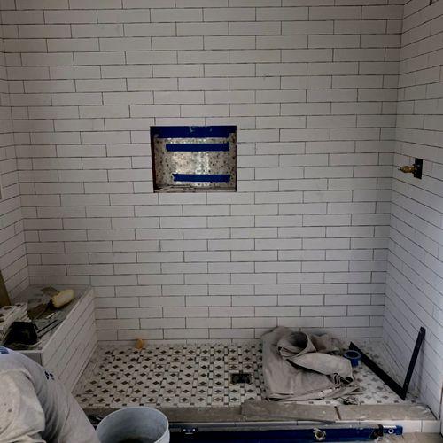 MID BATHROOM TILE INSTALL:
