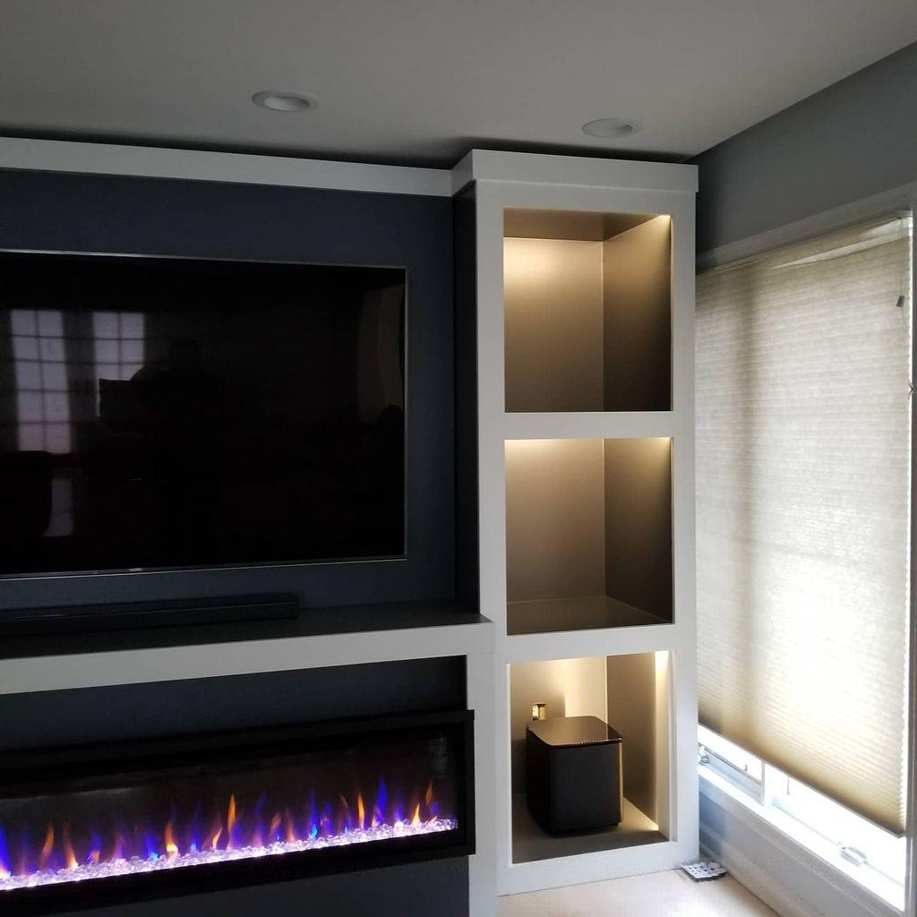 Complete media cabinet AV installation