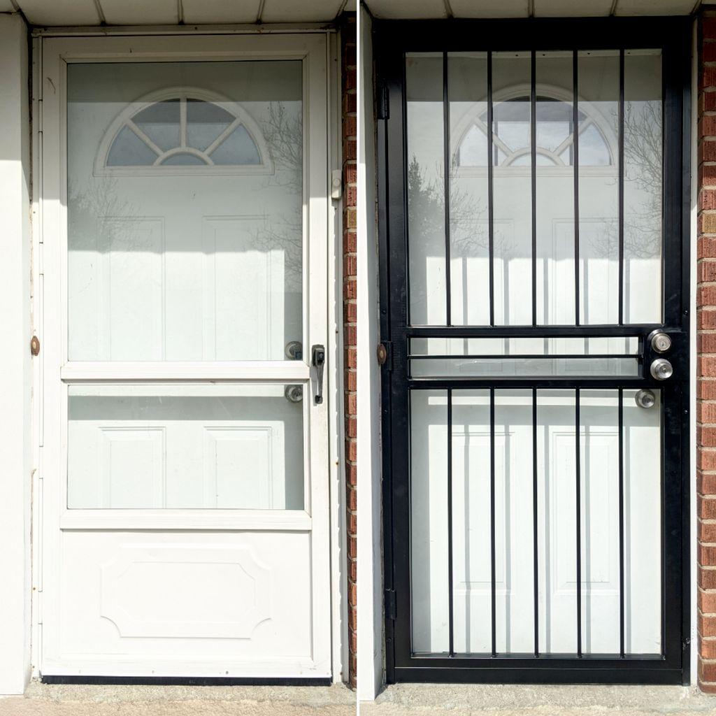 Replace storm door with security door