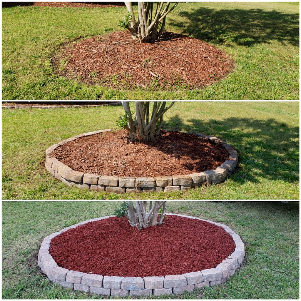 Flowerbed Stone and Mulch Install
