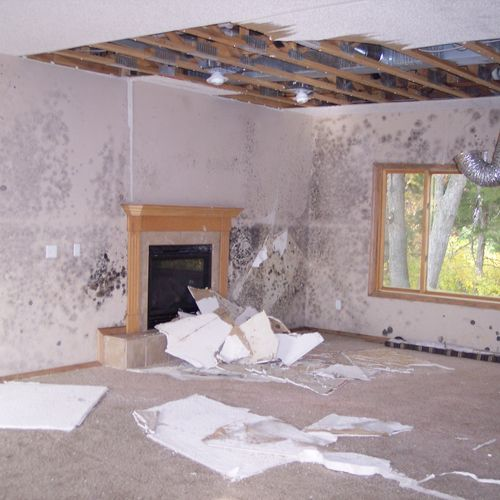 Water damage and mold growth inside home due to pipe break