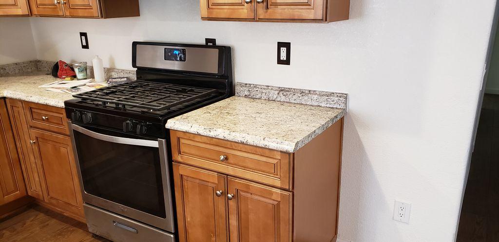 Kitchen counter top end cap installation