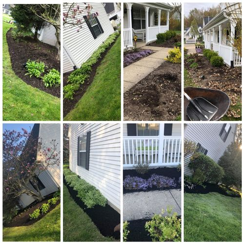 edged, trimmed, install new plants, mulched