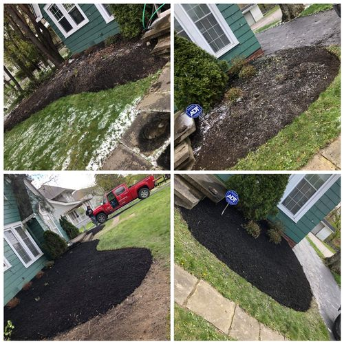 clean up, edging, and mulched