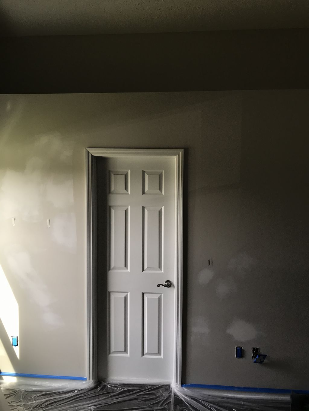 Drywall texture and paint Before and after