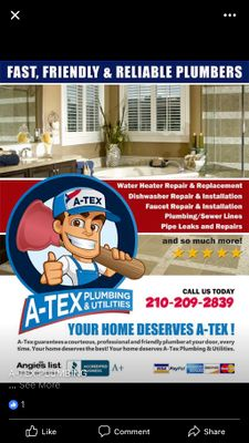 Avatar for A-Tex Plumbing & Utilities San Antonio, TX Thumbtack