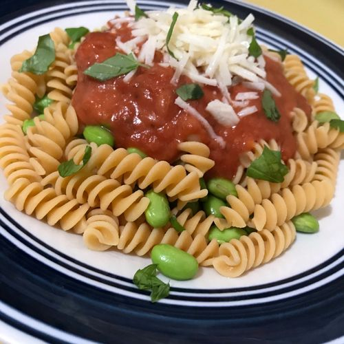 Client's Dinner - Spaghetti with Chickpea Noodles & Edamame