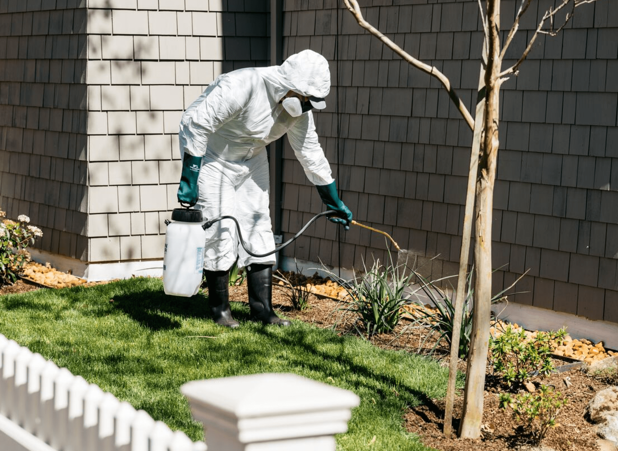 applying outdoor pesticide