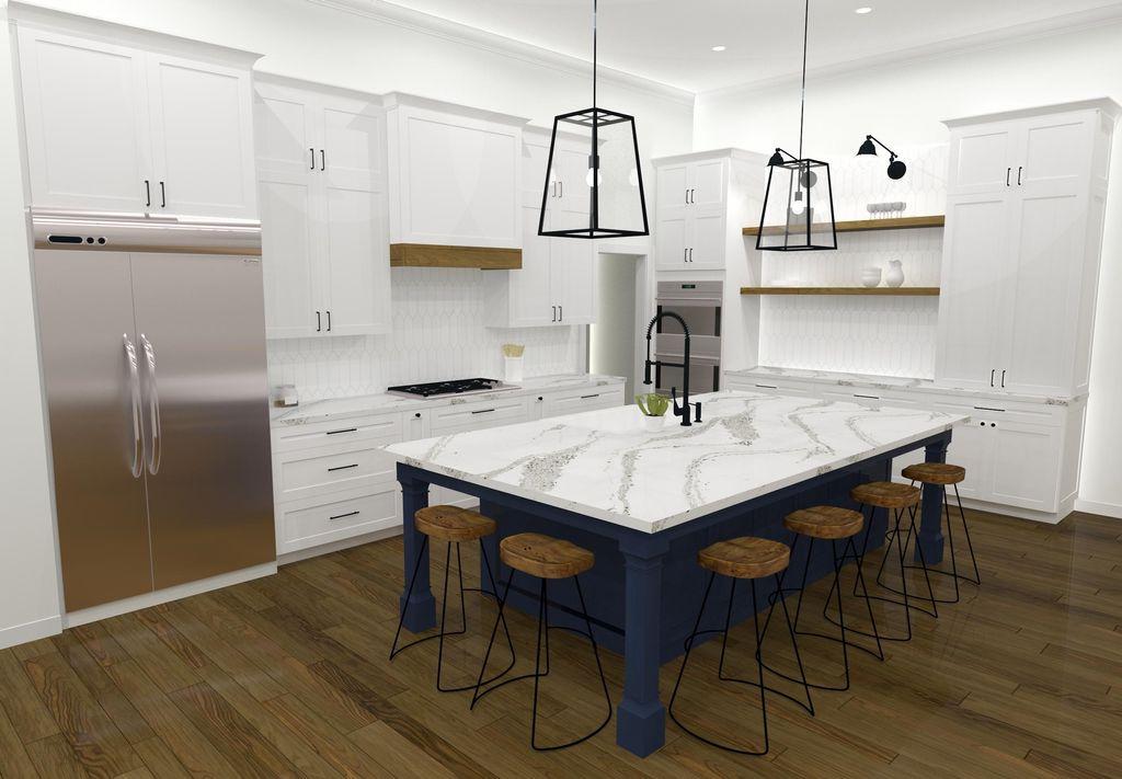 Classic White Kitchen w Blue Island