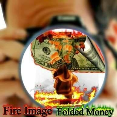 TB Fire Image Folded Money Photography