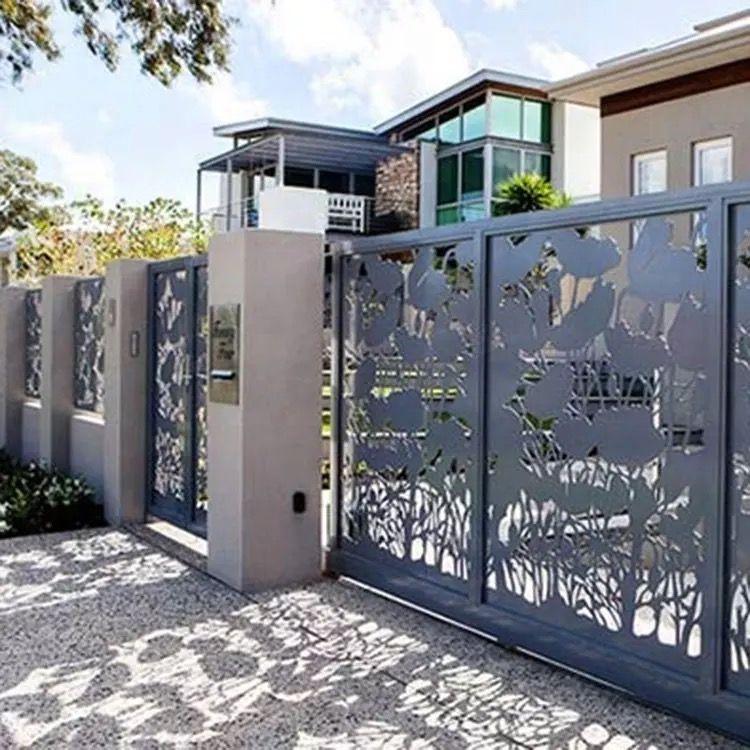 Custom laser cut driveway gate system installation in Palo Alto