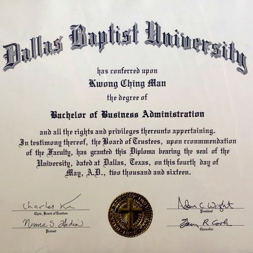 Bachelor of Business Administration (DBU) in the year of 2016