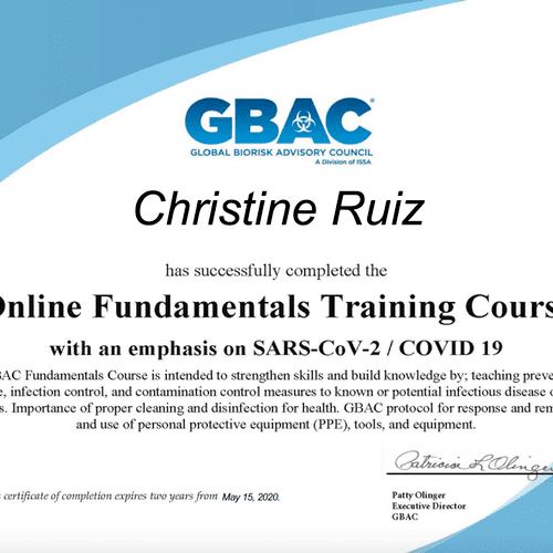 Official GBAC Certification with emphasis on SARS-CoV-2/COVID 19