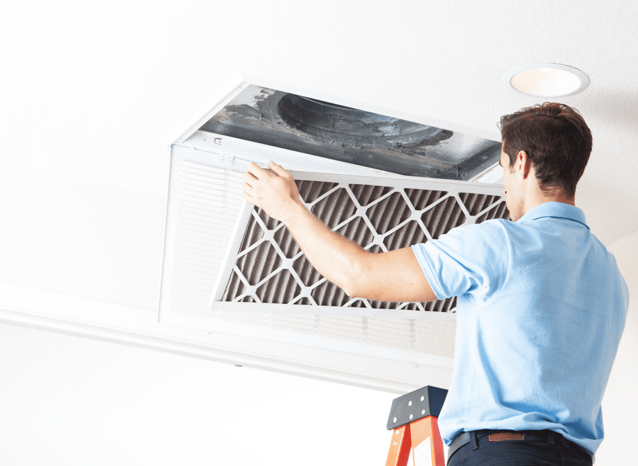 HVAC specialist fixing vents and ducts