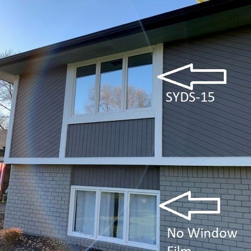 Privacy film provides a reflective appearance on the outside, while still allowing clear views outside