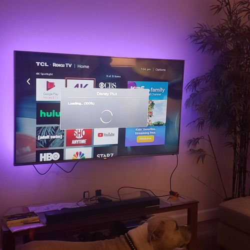 tv install 99 % done,needed to tie wrap wires