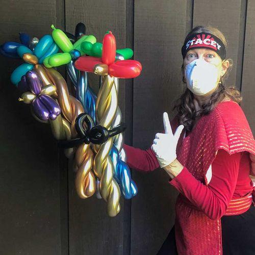 Ninja delivers balloon swords