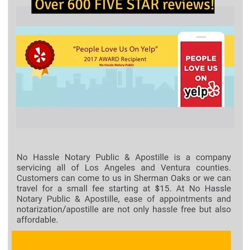Mobile notary and apostille service with 600 five star reviews