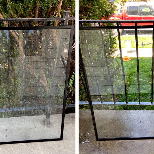 Glass door panels are removed and cleaned both sides