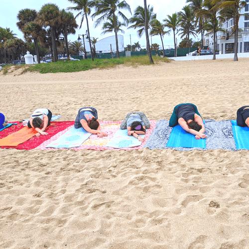 Bachelorette Yoga on Ft Lauderdale Beach
