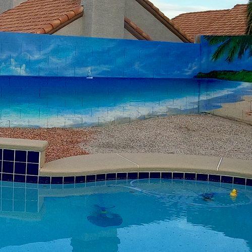 Backyard mural beach theme