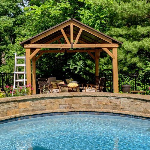 Cedar pergola with metal roofing