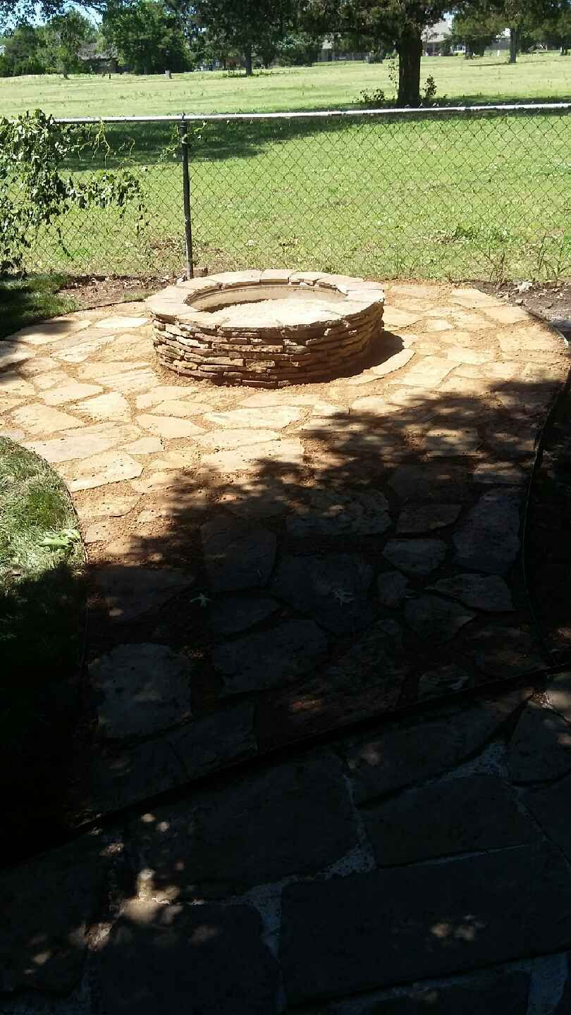 Walkway and fire pit installation