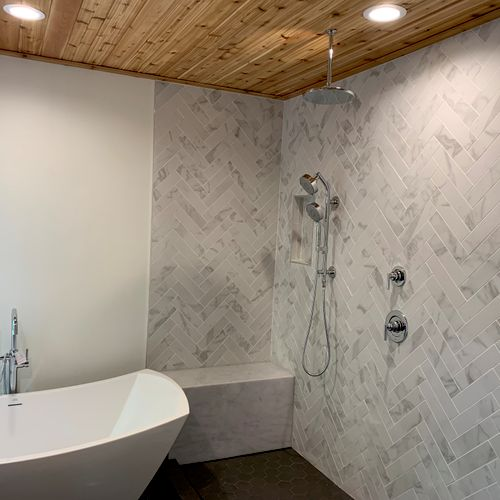 Beautiful bathroom remodel.  Proud to be a part of it.