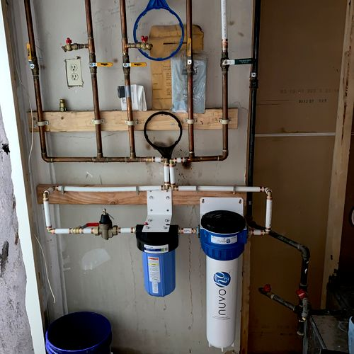 Nuvo water treatment and sediment filter installation.
