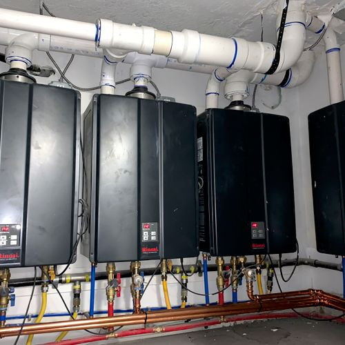 Tankless water heaters to service a 24 unit apartment building we did downtown.