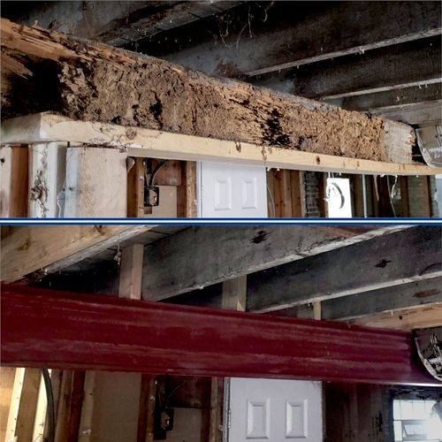 Before and after of steel beam installation, after termite damage.