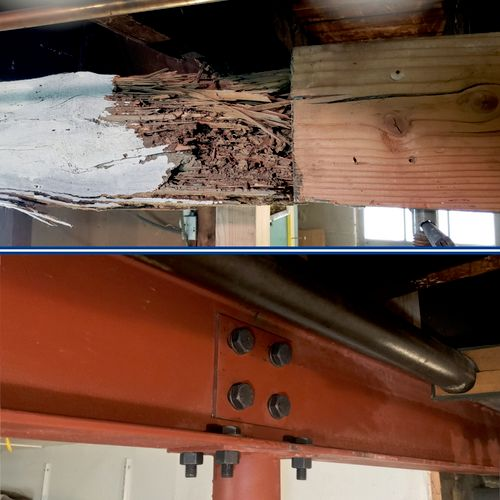 Termite damage: Before & Ater